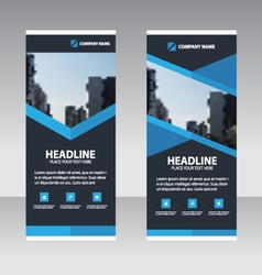 Blue triangle business roll up banner flat design vector