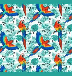 ara parrot seamless pattern tropical fabric design vector image