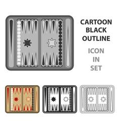 Backgammon icon in cartoon style isolated on white vector
