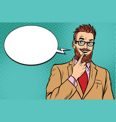 bearded hipster businessman was up to something a vector image