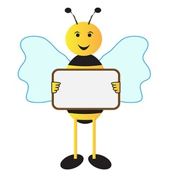 Bee holding sign board vector image vector image