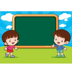 Boy and girl with blank board vector