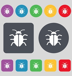 Bug virus icon sign a set of 12 colored buttons vector