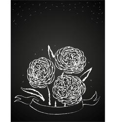 Chalk flowers on blackboard vector