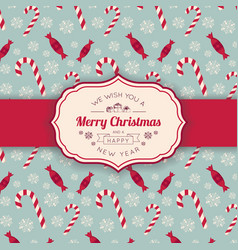 christmas candies pattern and greeting text vector image vector image