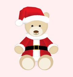 Christmas teddy bear in red santa hat and jacket vector