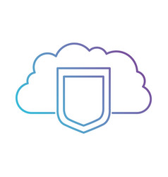 cloud storage data protection shield icon in color vector image