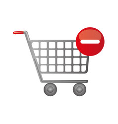 Color silhouette with shopping cart and minus sign vector