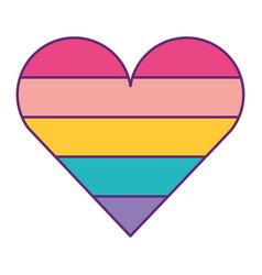 Cute heart love striped color image vector