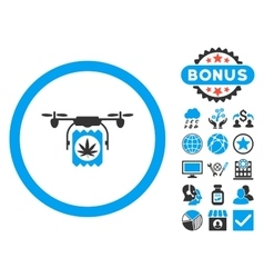 Drugs Drone Delivery Flat Icon with Bonus vector image vector image