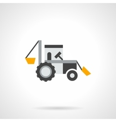 Farm excavator flat color icon vector