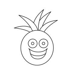 figure kawaii fruit pineapple happy icon vector image