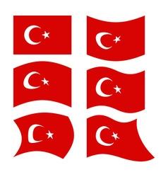 Flag of turkey set national flag of turkish state vector