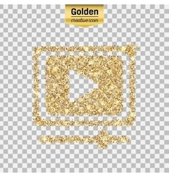 Gold glitter icon of video player isolated vector