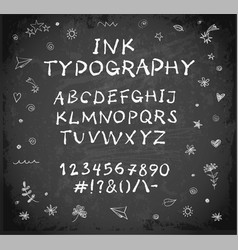 Hand-drawn ink sketch font on blackboard vector