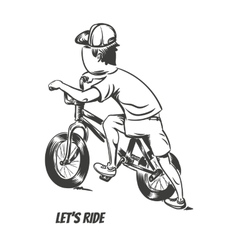 Kid starting bmx ride vector