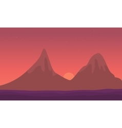 Landscape mountain at sunrise of silhouette vector image vector image