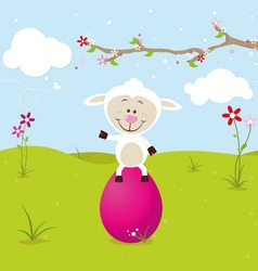 Lovely sheep with big pink egg vector image vector image
