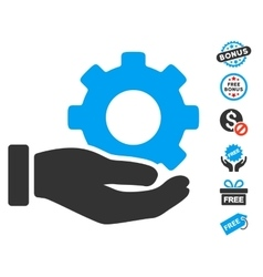 Mechanic gear service hand icon with free bonus vector