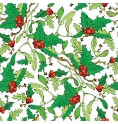 Mistletoe holly berries seamless pattern vector