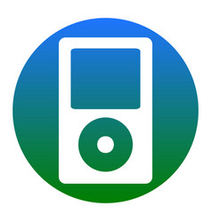 Portable music device white icon in vector
