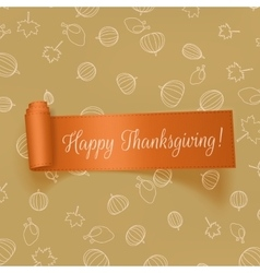 Realistic Thanksgiving greeting Card with Ribbon vector image vector image