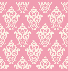 Seamless damask pattern pink texture in vintage vector
