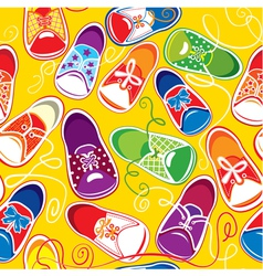 Seamless pattern - colored children gumshoes vector
