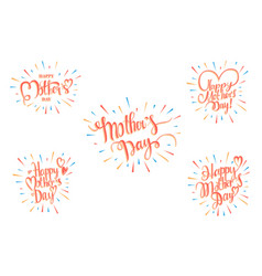Set happy mother s day greeting card vector