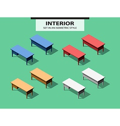 Set of office tables in isometric style vector image