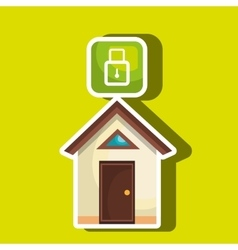 smart home with padlock isolated icon design vector image
