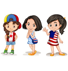 Three girls from different countries vector