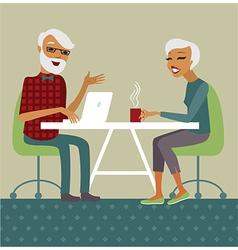 Trendy senior couple using laptop vector
