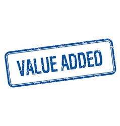 value added blue square grungy vintage isolated vector image vector image