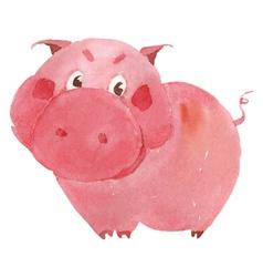 Watercolor pig vector