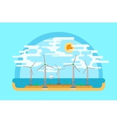 Wind generators sea flat ground vector