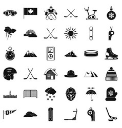 Winter house icons set simple style vector