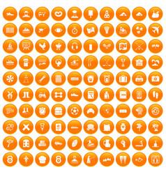 100 activity icons set orange vector