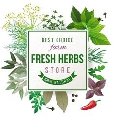 Fresh herbs store emblem vector