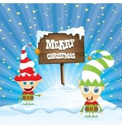 Cartoon merry christmas elf on north pole vector