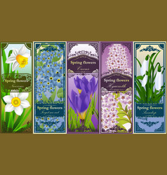 Five retro bookmarks with spring flowers vector image