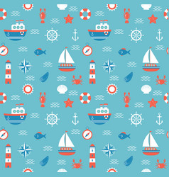 Seamless pattern with nautical elements marine vector