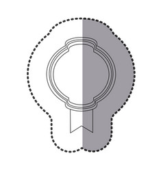 contour round emblem with ribbon icon vector image