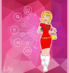 girl looking at mobile phone apps vector image
