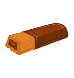 Bar of chocolate with biscuit inside stuffed with vector