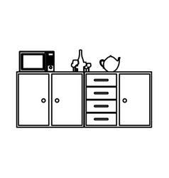 Silhouette of kitchen shelf and drawers and tea vector