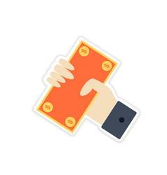 Stylish sticker on paper money in hand vector