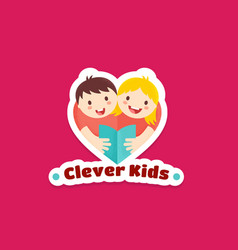 Clever kids abstract sign emblem or logo vector