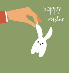 Happy easter hand holding easter rabbit vector