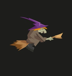 Witch on a broomstick isolated on a black vector image